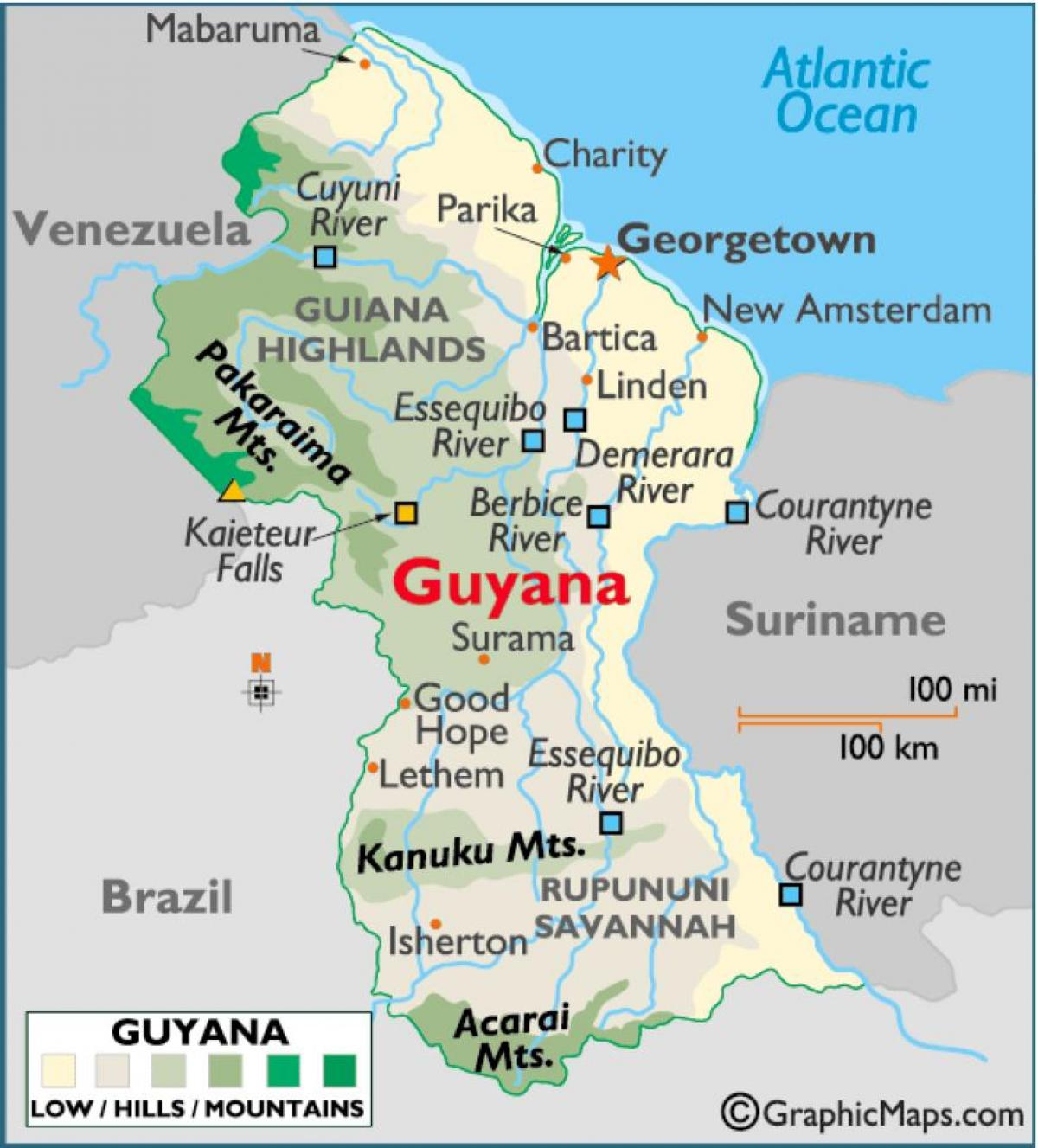 Picture of: Map Of Guyana Showing Mountain Ranges Map Of Guyana Showing Mountain Ranges South America Americas
