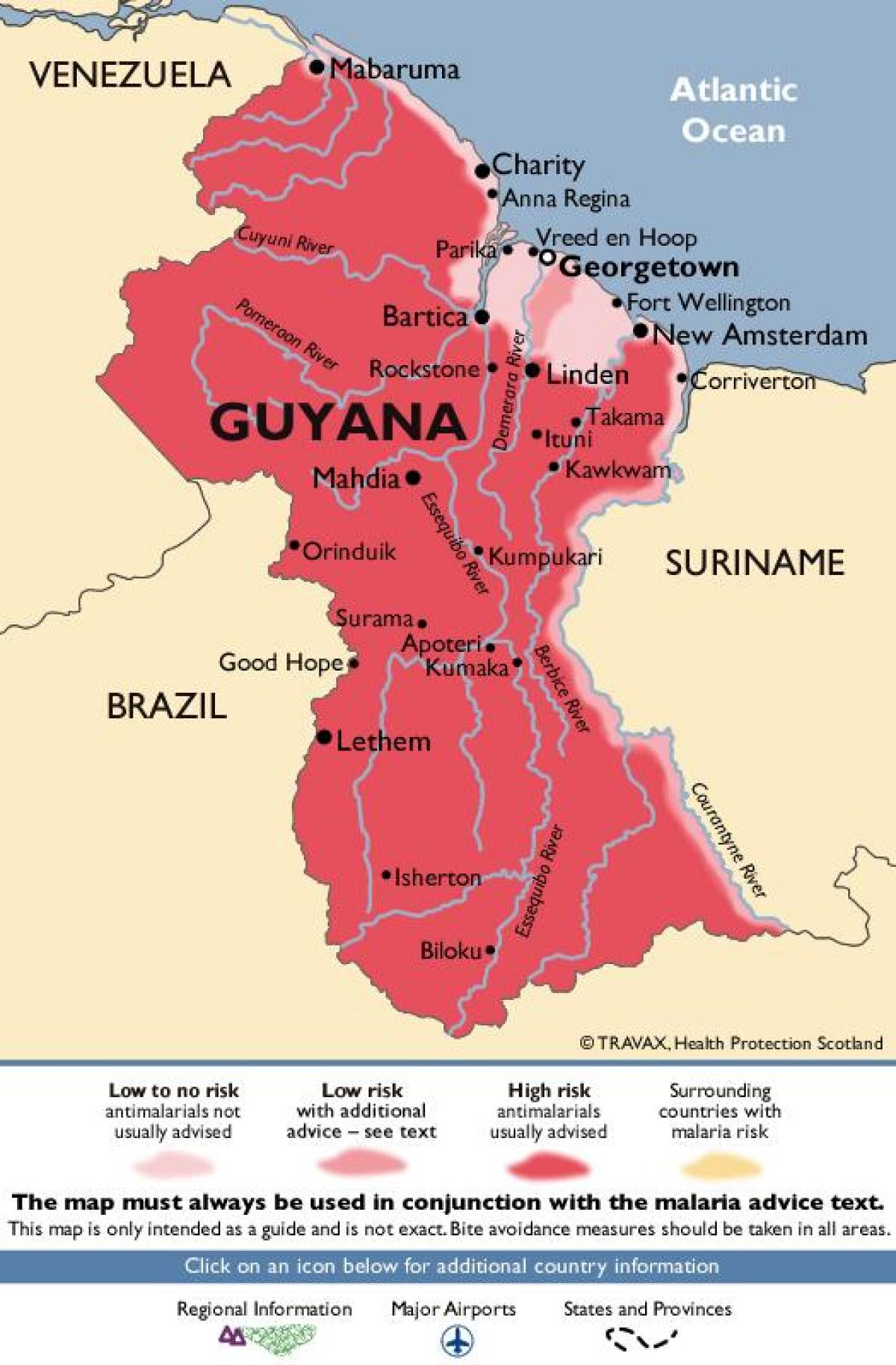 the map of Guyana