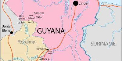 Map of  Guyana location on world