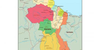 Map of Guyana showing 10 administrative regions