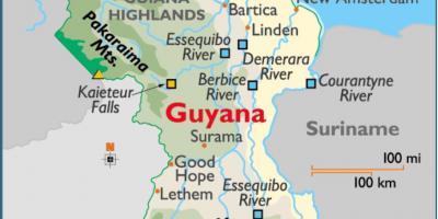 Guyana map regions - Map of Guyana showing regions (South America ...