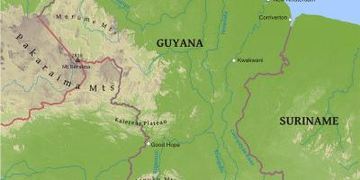 Map of Guyana showing the low coastal plain