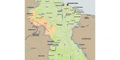 Map of Guyana showing the towns